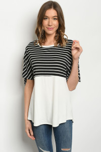 C33-A-1-T3984S BLACK IVORY STRIPES TOP 3-2-2