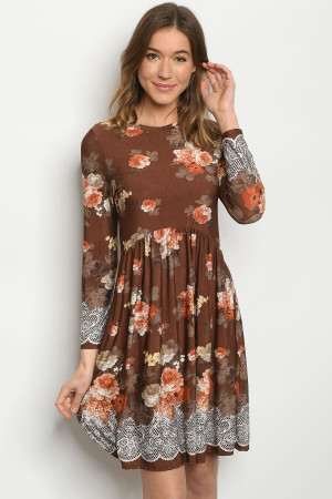 C82-A-2-D50088S BROWN FLOWER DRESS 2-2-2