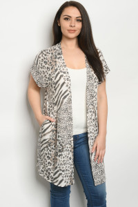 C20-A-2-C5137XS ANIMAL PRINT PLUS SIZE CARDIGAN 2-2-2