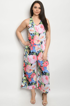 C22-A-1-R3962XS OFF WHITE FLORAL PLUS SIZE JUMPSUIT 2-2-2