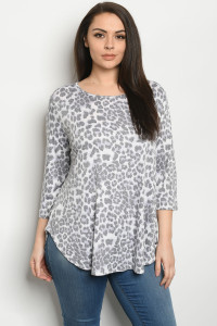 C23-A-3-T50957XS ANIMAL PRINT PLUS SIZE TOP 2-2-2