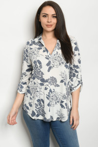 C12-A-2-T5153XS IVORY GREY FLOWERS PLUS SIZE TOP 2-2-2