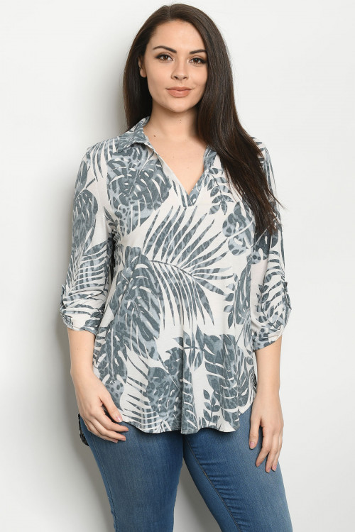 C14-A-1-T5153XS IVORY GREY W/ LEAVES PLUS SIZE TOP 2-2-2