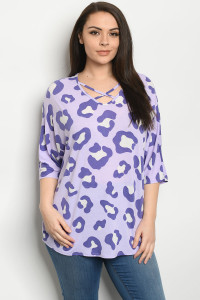C74-A-1-T5143XS LILAC PURPLE PLUS SIZE TOP 2-2-2