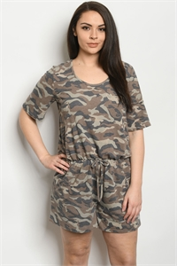 C34-A-2-R5144XS CAMOUFLAGE PLUS SIZE ROMPER 2-2-2