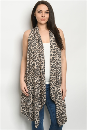 C34-A-3-C3603XS TAUPE ANIMAL PRINT PLUS SIZE CARDIGAN 2-2-2