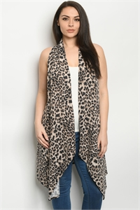 C36-A-3-C3603XS BROWN ANIMAL PRINT PLUS SIZE CARDIGAN 2-2-2