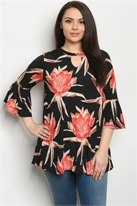 C36-A-2-T3708XS BLACK FLORAL PLUS SIZE TOP 2-2-2