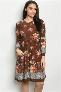 C95-A-1-D50088XS BROWN FLORAL PLUS SIZE DRESS 2-2-2