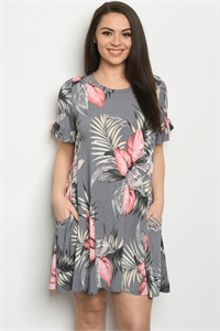 C93-A-1-D3600XS GREY CORAL PLUS SIZE DRESS 2-2-2