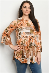 C93-A-1-D5008XS PEACH FLORAL PLUS SIZE TOP 2-2-2