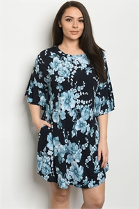 C87-A-2-D3572XS NAVY FLORAL PLUS SIZE DRESS 2-2-2