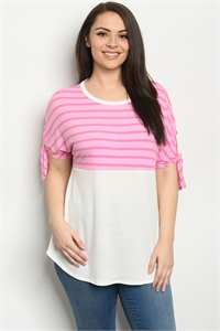 C87-A-2-T3984XS PINK IVORY PLUS SIZE TOP 2-2-2