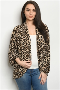 C75-A-1-C5044XS ANIMAL PRINT PLUS SIZE CARDIGAN 2-2-2
