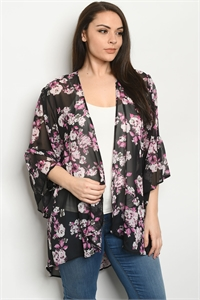 C47-A-2-C5187XS BLACK PINK PLUS SIZE CARDIGAN 2-2-2