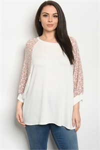C47-A-1-T51567XS IVORY ANIMAL PRINT PLUS SIZE TOP 2-2-2