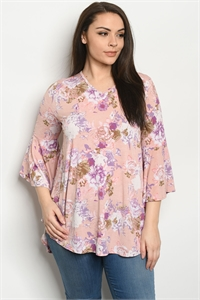 C41-A-2-T5126XS BLUSH FLORAL PLUS SIZE TOP 2-2-2
