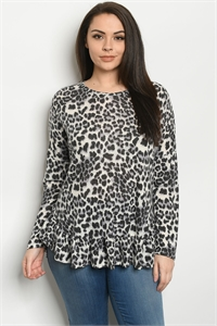 C39-A-1-T5077XS GREY ANIMAL PLUS SIZE TOP 2-2-2