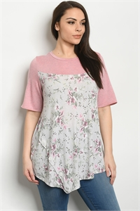 C39-A-2-T5157XS PINK GREY PLUS SIZE TOP 2-2-2