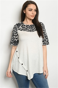 C39-A-3-T5157XS OATMEAL ANIMAL PLUS SIZE TOP 2-2-2