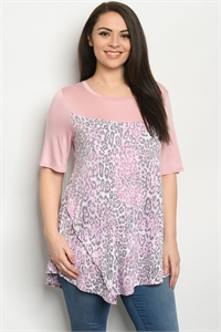 C31-A-2-T5157XS PINK ANIMAL PLUS SIZE TOP 2-2-2