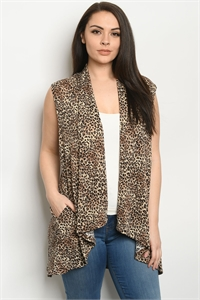 C23-A-3-C3887XS TAUPE CHEETAH PRINT PLUS SIZE CARDIGAN 2-2-2