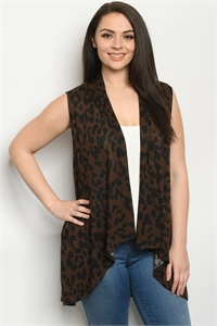 C11-A-3-C3887XS BROWN ANIMAL PRINT PLUS SIZE CARDIGAN 2-2-2