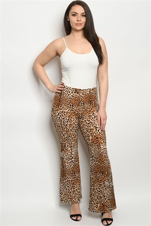 C5-A-3-P5085XS MOCHA ANIMAL PLUS SIZE PANTS 2-2-2