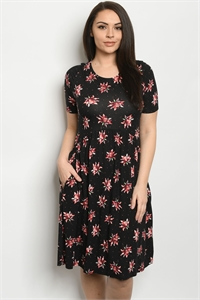 Y-A-3-D1801664X BLACK FLORAL PLUS SIZE DRESS 2-2-2