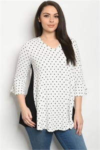 C22-A-1-T189169X WHITE BLACK PLUS SIZE TOP 1-2-3