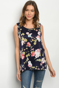 Y-B-3-T1705011 NAVY W/ FLOWERS TOP 2-2-2