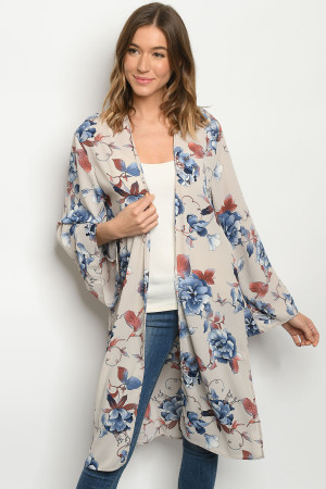 C96-A-3-C1801342 TAUPE FLORAL CARDIGAN 2-2-2