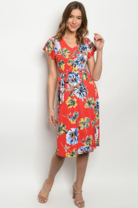 C84-A-1-D1801117 RED W/ FLOWERS DRESS 1-2-2