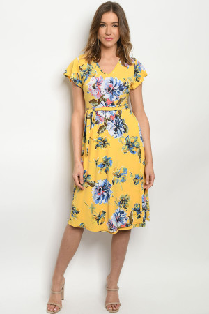 C98-A-3-D1801117 YELLOW W/ FLOWERS DRESS 2-2-2
