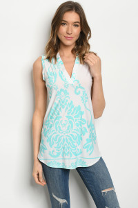 C40-B-1-T3084S OFF WHITE AQUA TOP 2-2-2