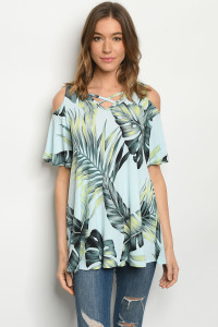 C48-A-1-T3966S BLUE LEAVE PRINT TOP 2-2-2