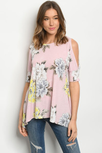 C54-A-3-T3359S PINK FLORAL TOP 2-2-2