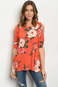 C57-A-1-T3359S CORAL FLORAL TOP 3-2-2