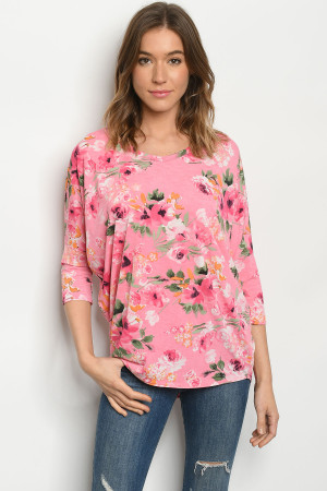 C58-B-1-T50537S PINK FLORAL TOP 2-2-2