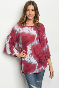 C67-A-1-T5028S BURGUNDY WHITE TOP 2-2-2