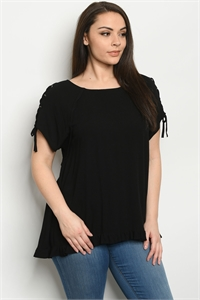 S24-5-2-T82192XS BLACK PLUS SIZE TOP 2-2-2