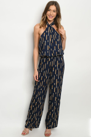 S7-9-2-J7449 NAVY STRIPES JUMPSUIT 3-2-1