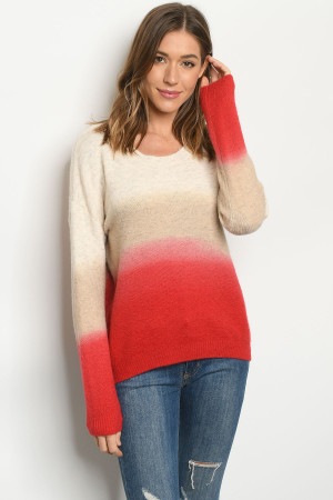 S13-2-2-S0041 BEIGE CORAL SWEATER 3-2-1