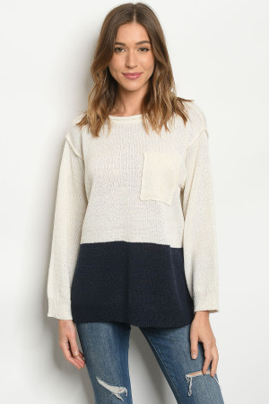 S14-6-3-S0092 CREAM NAVY SWEATER 3-2-1
