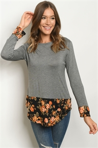 S14-5-1-T695 GRAY BLACK FLORAL TOP 2-2-2