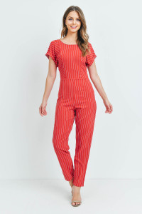 S8-7-3-J53801 RED STRIPES JUMPSUIT 2-2-2