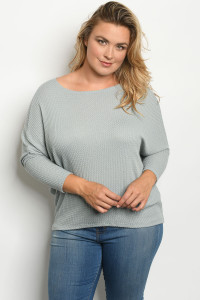 C75-A-1-T1973X SAGE PLUS SIZE TOP 2-2-2