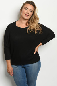 C73-A-1-T1973X BLACK PLUS SIZE TOP 2-2-2