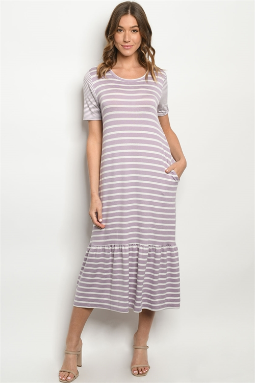 C14-A-2-D1063 LAVENDER STRIPES DRESS 2-2-2