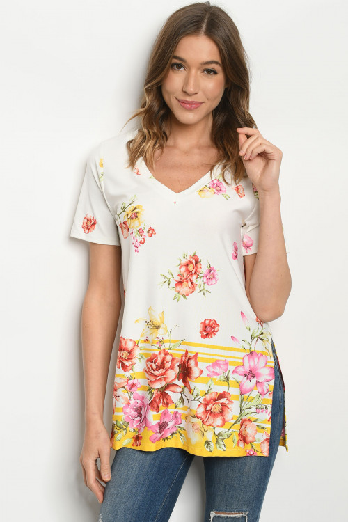 C24-A-2-T7963 IVORY YELLOW FLORAL TOP 2-2-2